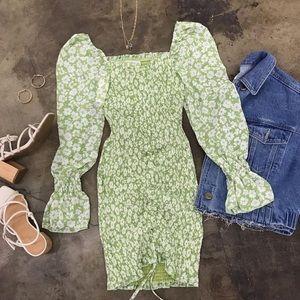 NEW | Green Floral Off Shoulder Smocked Mini